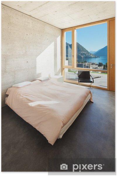 Poster Bella casa moderna in cemento, interni, camera da letto