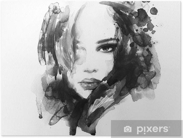 Poster Bella donna di fronte. acquerello illustrazione - Temi