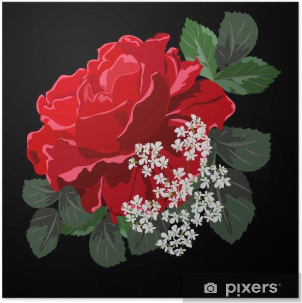 Poster Bella Rosa Rossa Elementi Decorativi Per Biglietti Di Auguri