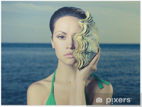 Costume Da Bagno Conchiglia : Poster bella signora con conchiglia grande u2022 pixers® viviamo per