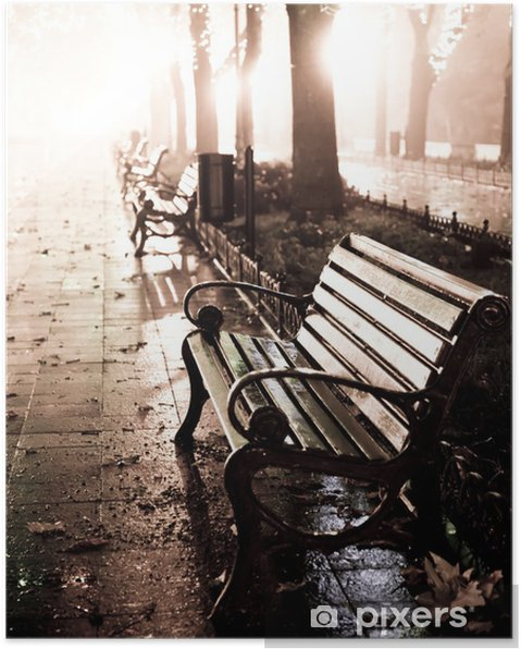 Poster Bench in der Nacht Gasse mit Lichter in Odessa, - Stile
