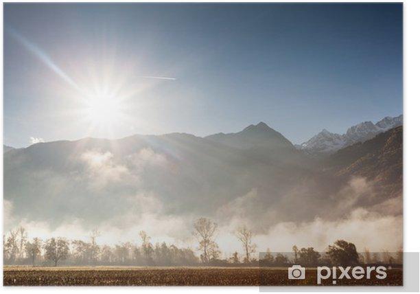 Poster Bergtal mit Nebel - Jahreszeiten