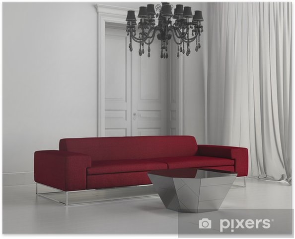 Poster Bianco Classico contemporaneo soggiorno, divano, pavimento in legno  rosso