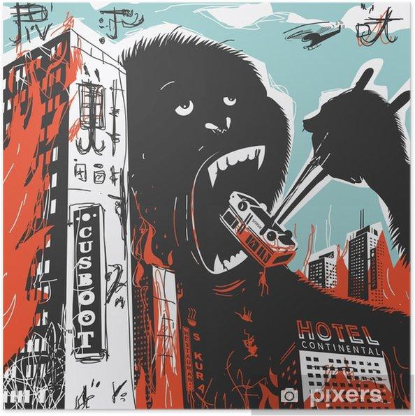 Poster Big Gorilla zerstört Stadt - Tiere