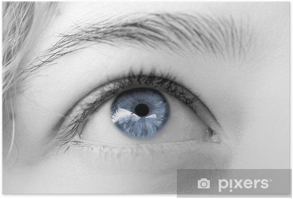Poster Blau Frau Auge klaren Himmel, verträumten Blick - Themen