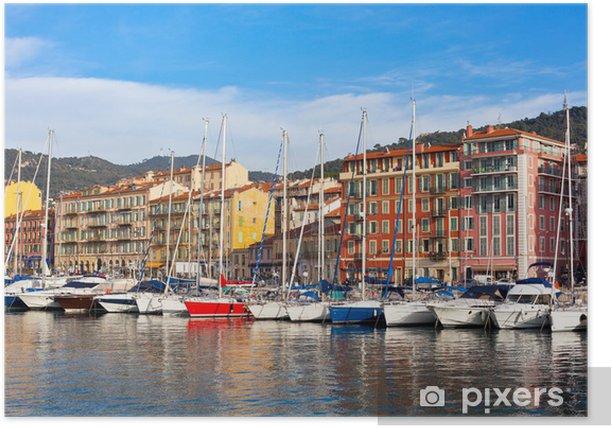 Poster Blick auf Hafen von Nizza, Französisch Riviera, Frankreich - Europa