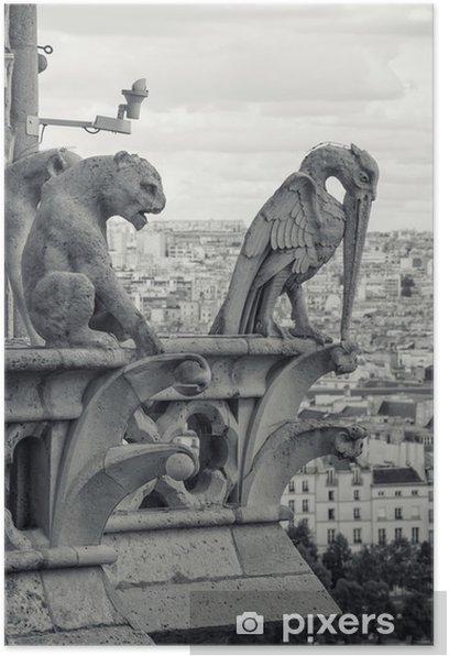 Poster Blick von der Kathedrale von Notre Dame in Paris - Europäische Städte