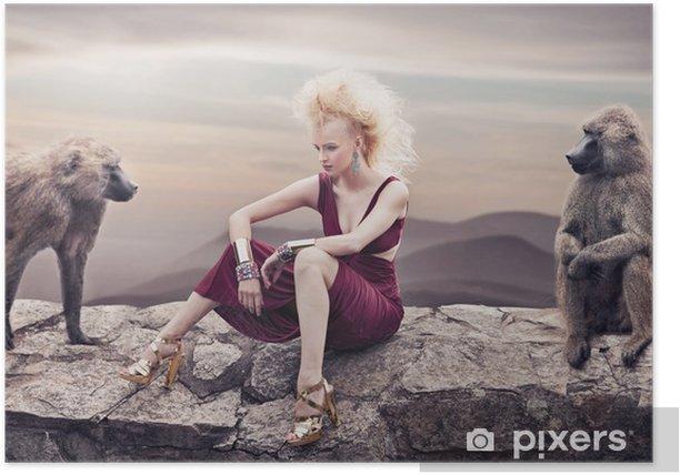 Poster Blonde Schönheit posiert mit Affen - Frauen