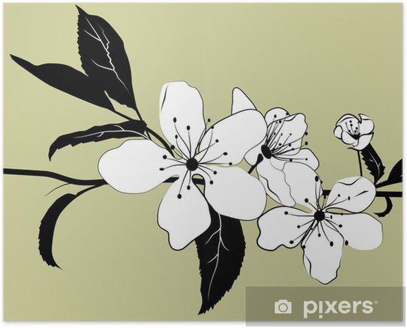 Poster Blühender Zweig der Kirsche - Bäume