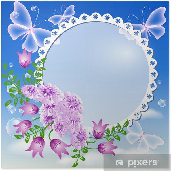 Poster Blumen Schmetterlinge In Den Himmel Und Bilderrahmen