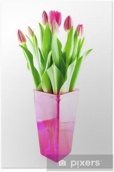 poster blumenstrau der rosa holl ndischen tulpen in der. Black Bedroom Furniture Sets. Home Design Ideas