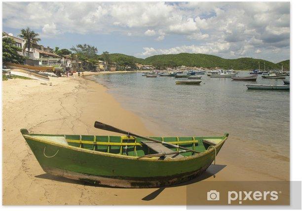 Poster Boot am Strand von Buzios, Brasilien - Amerika