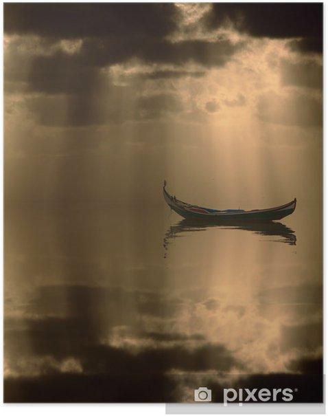 Poster Boot bei Sonnenuntergang - Wasser
