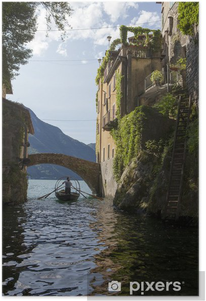Poster Boot unter der Brücke am Comer See - Urlaub