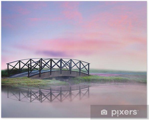 Poster Brücke im Nebel - Land