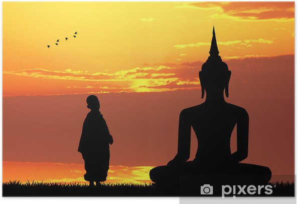 Poster Buddha bei Sonnenuntergang - Themen