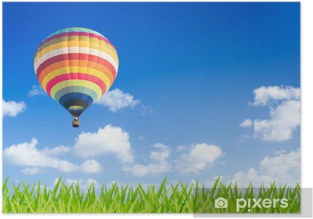 Poster Bunte Heißluftballon über grüne Felder - Land