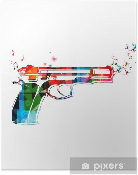 Poster Bunte Vektor-Pistole mit Kolibris - Sonstige Gefühle