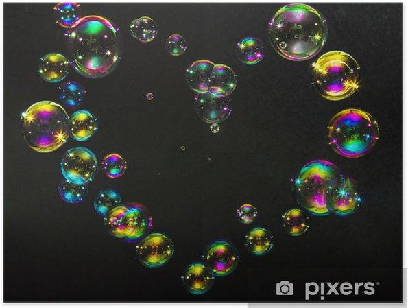Poster Bunten Blasen in der Form von Herzen auf einem dunklen Hintergrund - Zeichen und Symbole