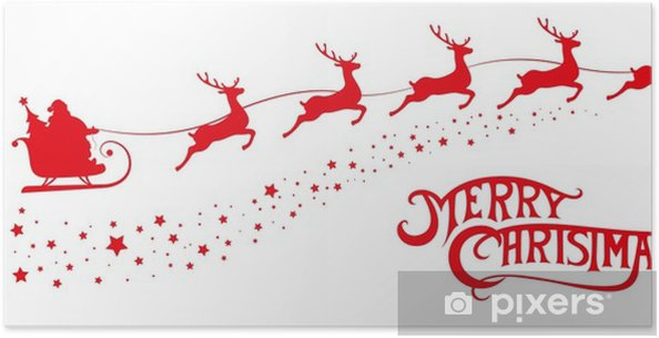 Poster buon natale banner silhouette babbo in