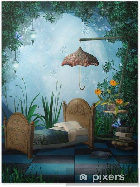Poster Camera da letto con lanterne Incantato