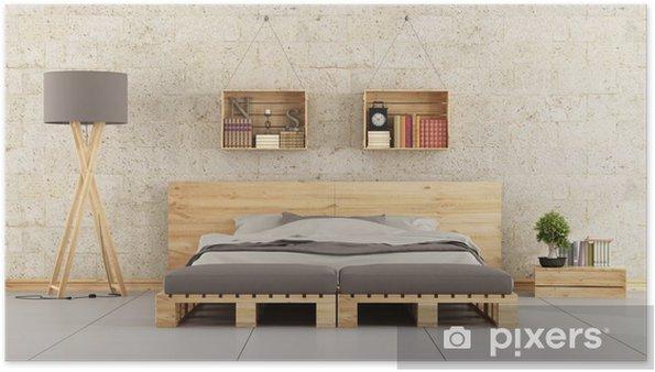 Poster Camera da letto moderna con letto pallet sul muro di mattoni