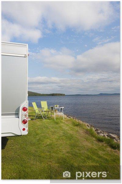 Poster Camping am See - Straßenverkehr