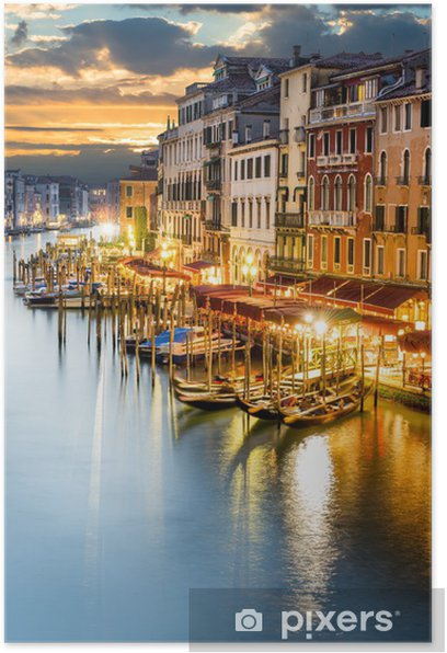 Poster Canal Grande di notte, Venezia -