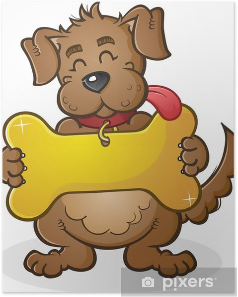 Poster cane con collare gigante tag segno dei cartoni animati