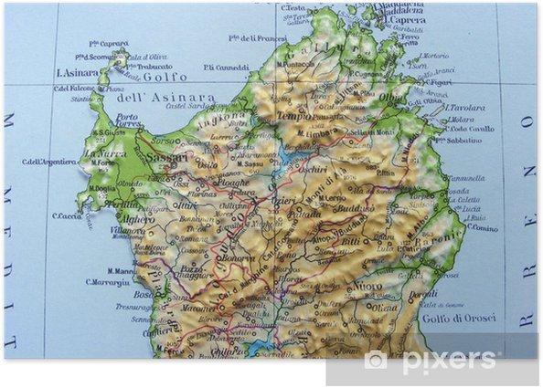 Sardegna Cartina Politica Dettagliata.Poster Carta Geografica Della Sardegna Pixers Viviamo Per Il Cambiamento