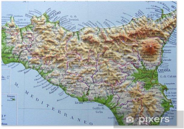 Cartina Fisica Sicilia Da Stampare.Poster Carta Geografica Della Sicilia Pixers Viviamo Per Il Cambiamento