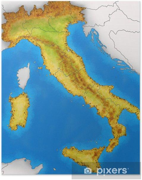 Italia Politica Cartina Muta.Poster Cartina Italia Fisica Illustrazione Pixers Viviamo Per Il Cambiamento