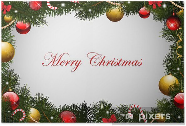 Cornici Foto Di Natale.Poster Cartolina Di Natale Sfondo Cornice Ghirlanda