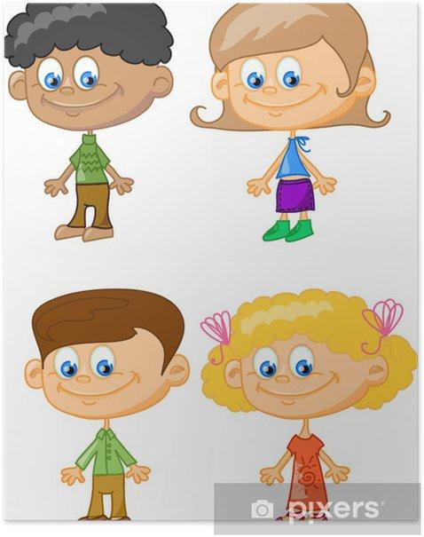 Poster Cartoon-Kinder, Studenten - Ausbildung