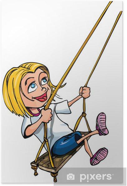 Poster Cartoon von jungen Mädchen auf einer Schaukel - Kinder