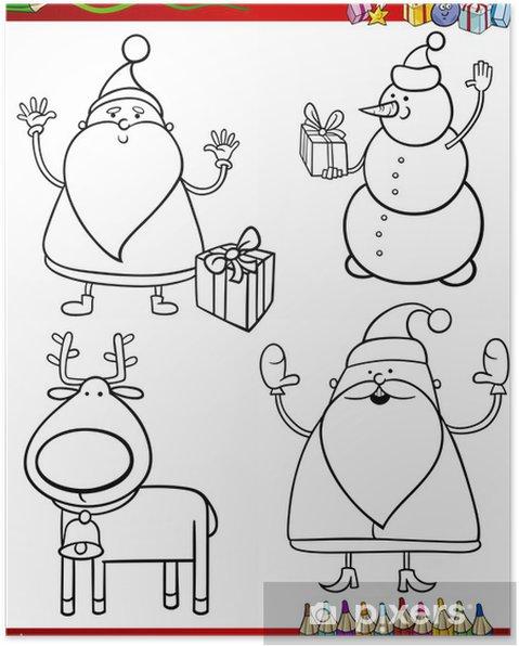 Poster Cartoon Weihnachten Themen Ausmalbilder