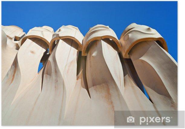 Poster Casa Mila, auch als La Pedrera, Barcelona, Spanien kennen. - Europäische Städte