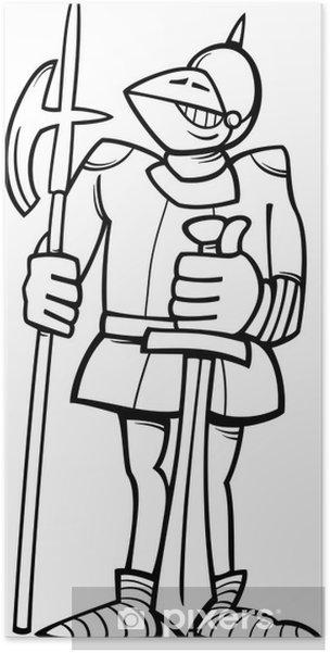 Poster Cavaliere In Armatura Da Colorare Dei Cartoni Animati