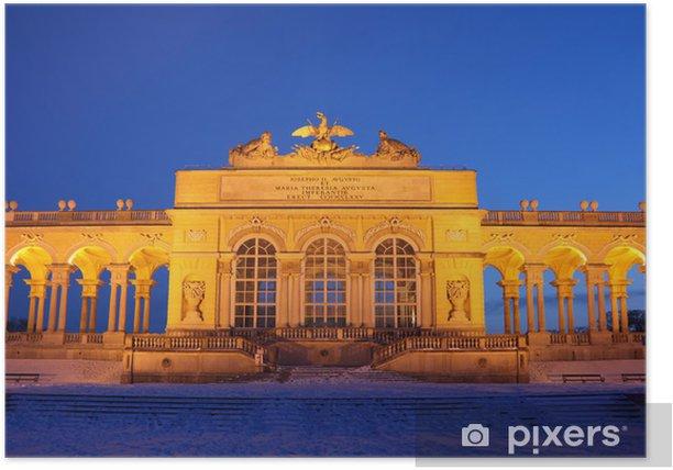Poster Center of Glorietta in Schönbrunn Park nachts Winter in Wien - Europa