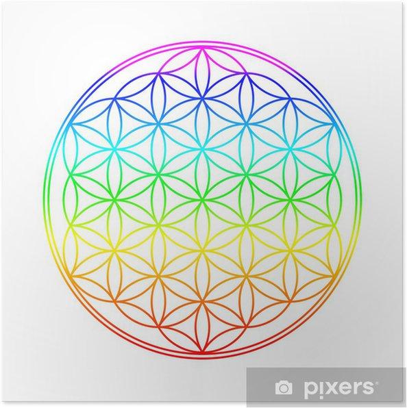 Poster Chakra Farben Blume des Lebens - Wandtattoo