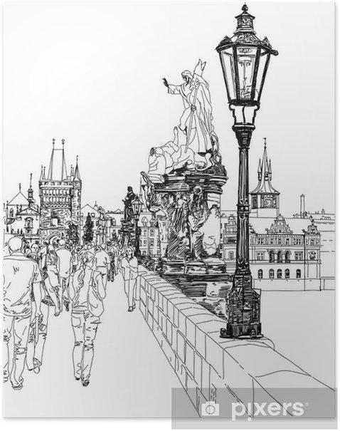 Poster Charles Bridge - Prag, Tschechische Republik - ein Vektor-Skizze - Prag