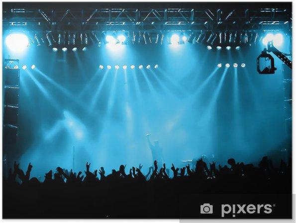 Poster Cheering folla al concerto, i musicisti sul palco - Divertimento