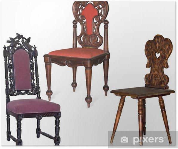 Sedie Legno Antiche.Poster Collezione Di Sedie Antiche Intagliate In Legno