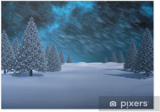 Poster Composite-Bild von weißen Schneelandschaft mit Tannen - Urlaub