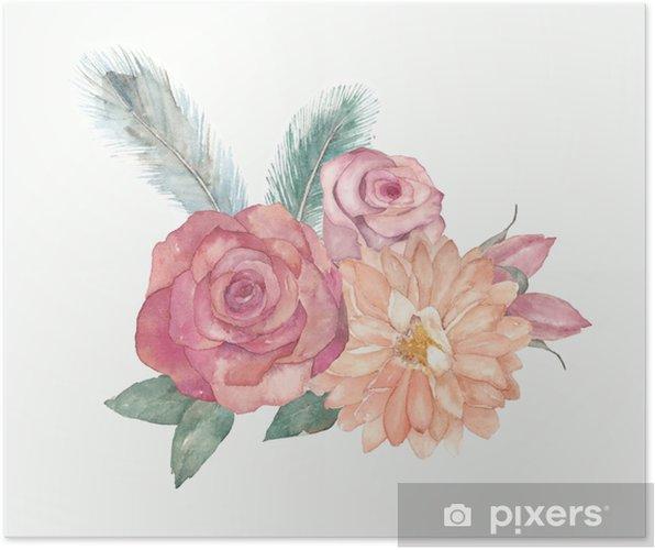 Poster Composizione Floreale Acquerello Con Rose Foglie Piume Per Biglietti Di Auguri Matrimonio Inviti Compleanno