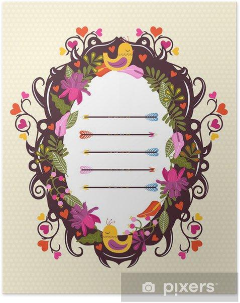 Poster Cornice floreale vettoriale con uccelli - Segni e Simboli