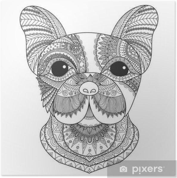 Poster Cucciolo Bulldog Francese Zentangle Stilizzato Per Libro Da