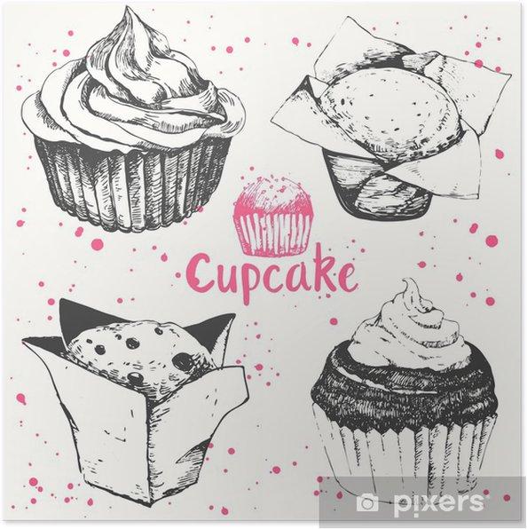 Poster Cupcakes Und Muffins Set Von Hand Gezeichnet Kuchen