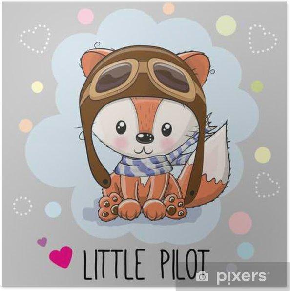 Poster Cute cartoon fox - Animali