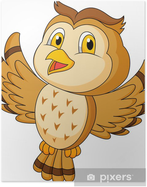 Poster CVute Eule Cartoon Flug - Vögel